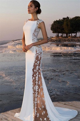 Stylish Straps Sleeveless Round Neck Appliques Mermaid Prom Dress_1