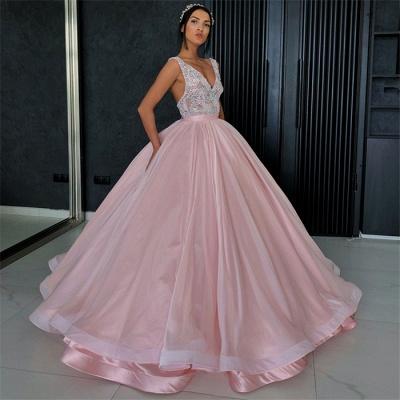 Elegant V-Neck Sleeveless Appliques Ball Gown Prom Dress_3