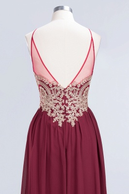A-Line Spaghetti-Straps Sleeveless Backless Floor-Length  Bridesmaid Dress with Appliques_6