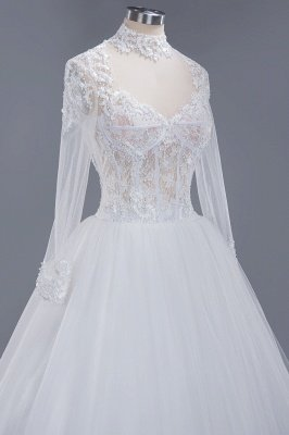 Glamorous Ball Gown High-Neck Long-Sleeves Tulle Lace Wedding Dress_5