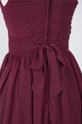 A-Line One-Shoulder Sleeveless Knee-Length  Bridesmaid Dress with Ruffles_5