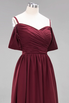 A-Line  V-Neck Spaghetti Straps Short-Sleeves Floor-Length Bridesmaid Dresses with Ruffles_13