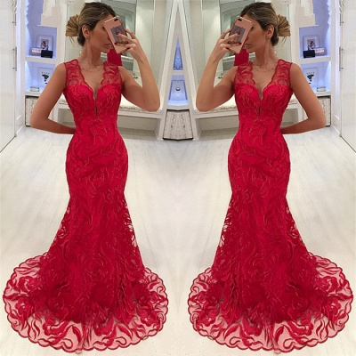 Stylish Straps Sleeveless Appliques V-Neck Mermaid Prom Dress_3