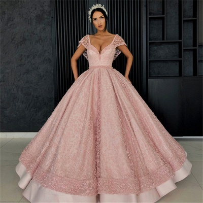 Stunning Cap Sleeves Beading Ball Gown Prom Dress_6