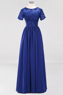 A-line  Lace Jewel Short-Sleeves Floor-length Bridesmaid Dress_25