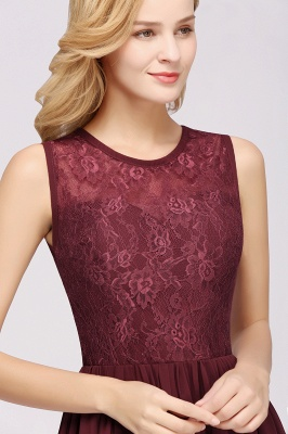 A-Line Chiffon Lace Bridesmaid Dresses | Scoop Sleeveless Wedding Party Dresses_5
