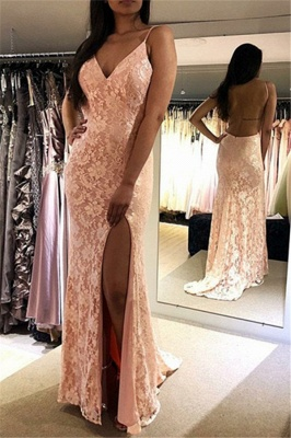 Stunning Spaghetti Straps Appliques Sleeveless V-Neck Backless Prom Dress_1