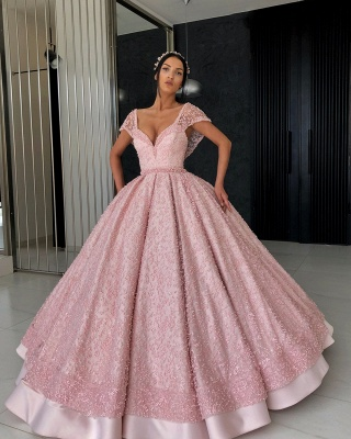 Stunning Cap Sleeves Beading Ball Gown Prom Dress_3