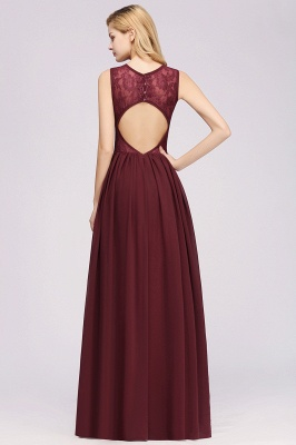 A-Line Chiffon Lace Bridesmaid Dresses | Scoop Sleeveless Wedding Party Dresses_2