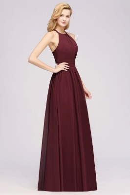 Simple A-Line Chiffon Bridesmaid Dresses | Halter Ruched Hollow Back Maid of The Honor Dresses_4