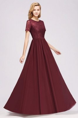A-line  Lace Jewel Short-Sleeves Floor-length Bridesmaid Dress_37