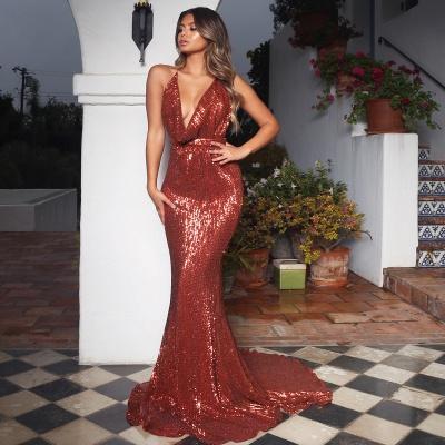 Sexy V-Neck Halter Backless Sleeveless Mermaid Prom Dress_3