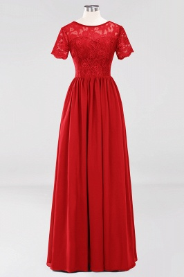 A-line  Lace Jewel Short-Sleeves Floor-length Bridesmaid Dress_8