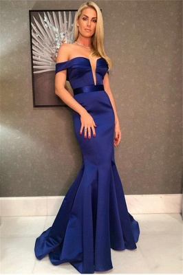 Charming Off-the-Shoulder V-Neck Sleeveless Mermaid Floor-Length Prom Dress_1