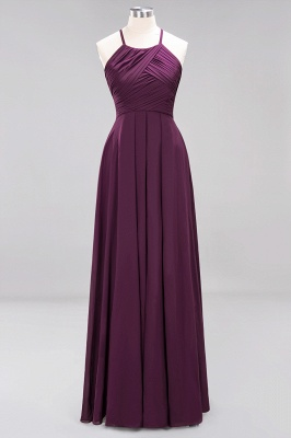 A-Line  Halter Ruffles Floor-Length Bridesmaid Dress_19