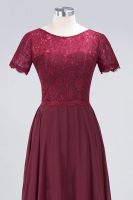 A-Line Round-Neck Short-Sleeves Floor-Length  Lace Bridesmaid Dress_4