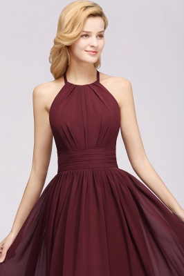 Simple A-Line Chiffon Bridesmaid Dresses | Halter Ruched Hollow Back Maid of The Honor Dresses_5
