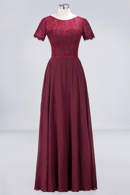 A-Line Round-Neck Short-Sleeves Floor-Length  Lace Bridesmaid Dress_1