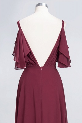 A-Line V-Neck Straps Sleeveless Ruffles Floor-Length  Bridesmaid Dress with Pearls_6
