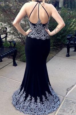 Glamorous Halter V-Neck Sleeveless Appliques Floor-Length Prom Dress_2