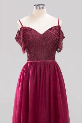 A-Line  Lace Sweetheart Spaghetti Straps Short-Sleeves Floor-Length Bridesmaid Dresses with Ruffles_4