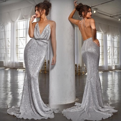 Sexy V-Neck Halter Backless Sleeveless Mermaid Prom Dress_6