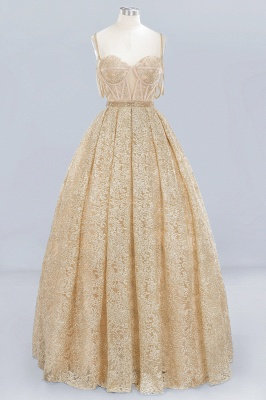 Glamorous Ball Gown Spaghetti-Straps Sweetheart  Floor-Length Tulle Lace Wedding Dress_1