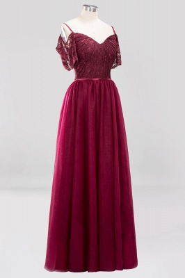 A-Line  Lace Sweetheart Spaghetti Straps Short-Sleeves Floor-Length Bridesmaid Dresses with Ruffles_3
