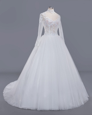 Glamorous Ball Gown High-Neck Long-Sleeves Tulle Lace Wedding Dress_3
