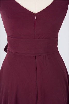 A-Line Straps V-Neck Sleeveless Ruffles Knee-Length  Bridesmaid Dress with Bow Sash_4