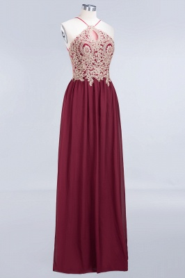 A-Line Spaghetti-Straps Sleeveless Backless Floor-Length  Bridesmaid Dress with Appliques_3