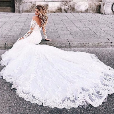 Charming Appliques Off-the-Shoulder Long Sleeves Mermaid Wedding Dress_5