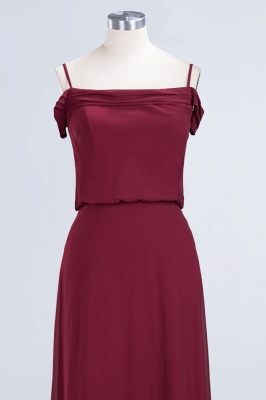 Long Off-the-Shoulder Elegant Burgundy A-Line Bridesmaid Dress_5