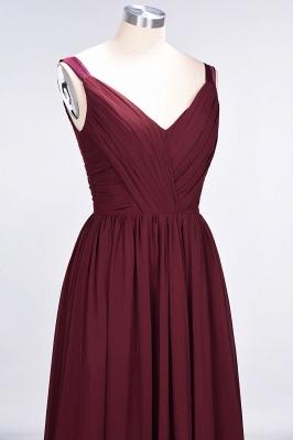 A-Line Straps V-Neck Sleeveless Backless Floor-Length  Bridesmaid Dress with Ruffles_6