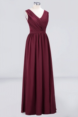 A-Line V-Neck Sleeveless Floor-Length  Lace Bridesmaid Dress with Ruffles_3