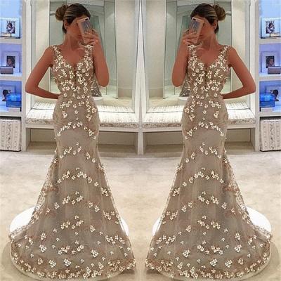 Elegant Sleeveless Straps Appliques V-Neck Mermaid Floor-Length Prom Dress_3