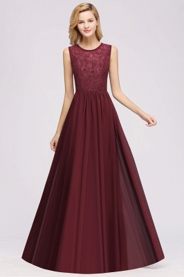 A-Line Chiffon Lace Bridesmaid Dresses | Scoop Sleeveless Wedding Party Dresses_3