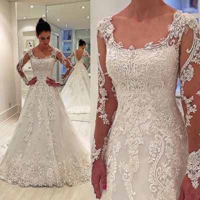 Glamorous Long Sleeves Appliques Square Neck A-Line Wedding Dress_3
