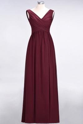 A-Line Straps V-Neck Sleeveless Floor-Length  Bridesmaid Dress with Ruffles_1