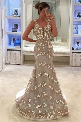 Elegant Sleeveless Straps Appliques V-Neck Mermaid Floor-Length Prom Dress_1
