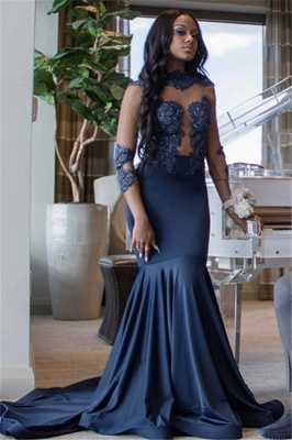 Elegant 3/4 Sleeves Appliques Mermaid Floor-Length Prom Dress_3