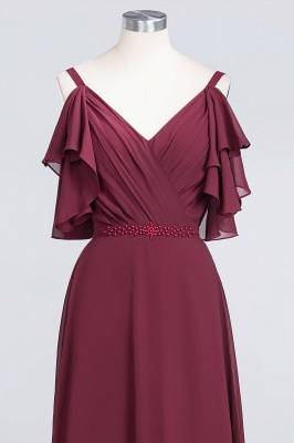 A-Line V-Neck Straps Sleeveless Ruffles Floor-Length  Bridesmaid Dress with Pearls_4
