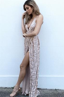 Fashion Spaghetti Straps Deep V-Neck Sleeveless Front Slipt Prom Dress_2