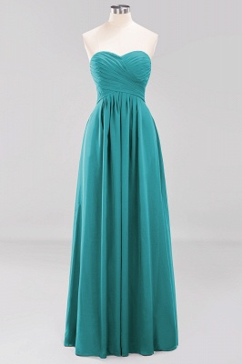 A-line  Sweetheart Strapless Ruffles Floor-length Bridesmaid Dress_31