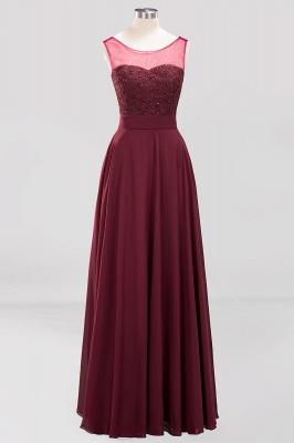 A-Line   Lace Beadings Jewel Sleeveless Floor-Length Bridesmaid Dresses with Sash_1