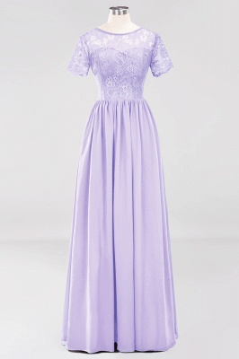 A-line  Lace Jewel Short-Sleeves Floor-length Bridesmaid Dress_20