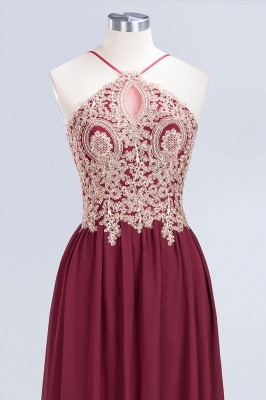 A-Line Spaghetti-Straps Sleeveless Backless Floor-Length  Bridesmaid Dress with Appliques_4