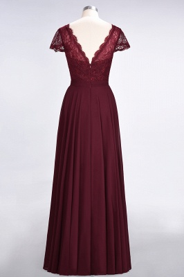A-Line V-Neck Cap-Sleeves Floor-Length  Lace Bridesmaid Dress_2