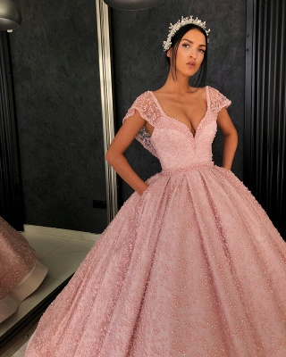 Stunning Cap Sleeves Beading Ball Gown Prom Dress_4