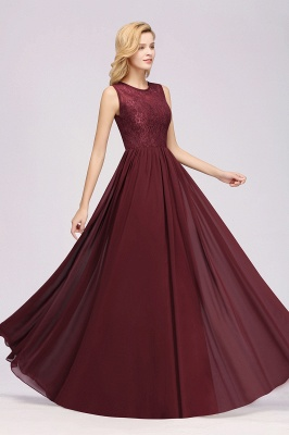 A-Line Chiffon Lace Bridesmaid Dresses | Scoop Sleeveless Wedding Party Dresses_4